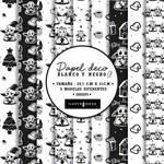 Baby-Yoda-y-Mando papel deco blanco y negro by Lii07