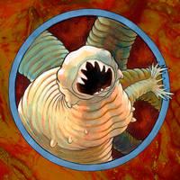 Parasite Portrait Hookworm by Rode-Egel