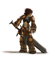 Pathfinder - Amiri The Barbarian study by FilKearney