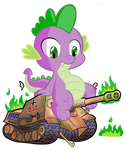 Spike destroying a tank
