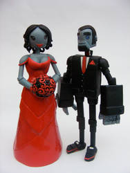 Red Robot Wedding Cake Topper by SpaceCowSmith
