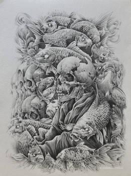 skulls and fish
