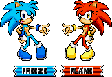 Freeze and Flame SA3 Pixelarts by MephistaTheDark