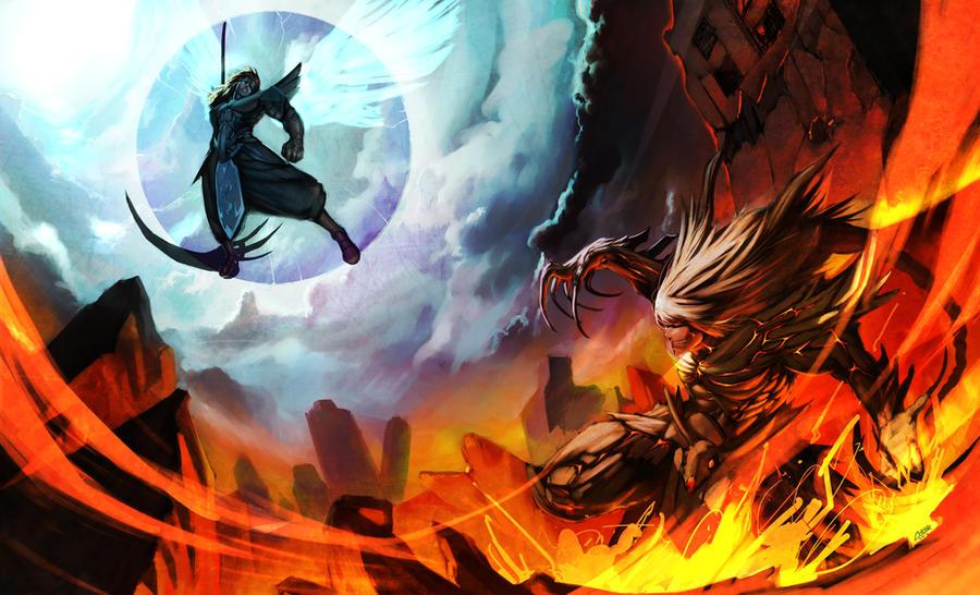 Angel vs. Demon by Raaamen on DeviantArt
