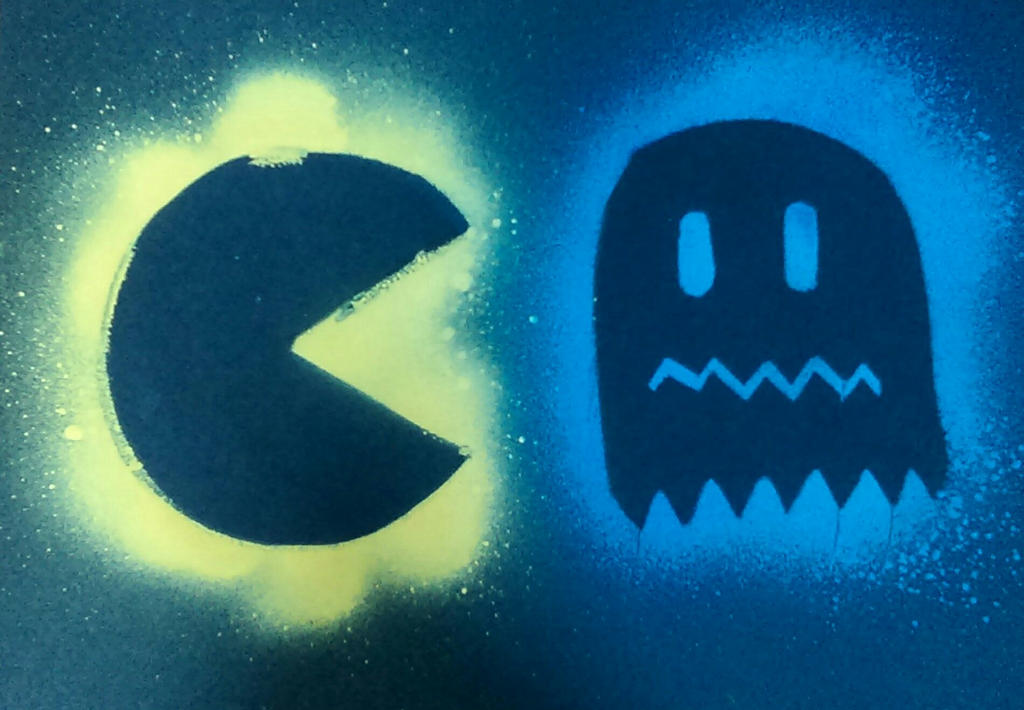 Pac-Man and Ghost by SuperAshBro