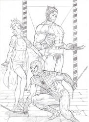 Jubilee, Spider Man and Wolverine by RoninGuthemDojo
