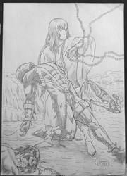 Enkidu rescuing Spawn, Lobo and Shun