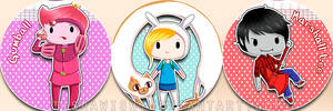 Adventure Time Buttons by Tishawish