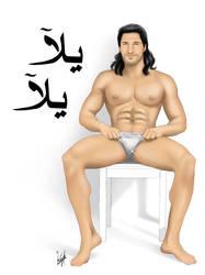 Sexy Arab Male Pinup - Yalla Yalla (Come On) by eddiechin