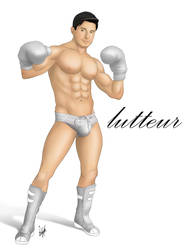 Sexy Male Pinup Art Fighter by eddiechin