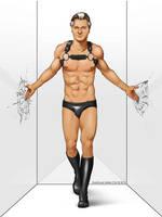Male Pinup - Bondage Leather God Liam Neeson by eddiechin