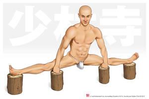 Male Pinup Acrobatic Split Shaolin (Censored) by eddiechin