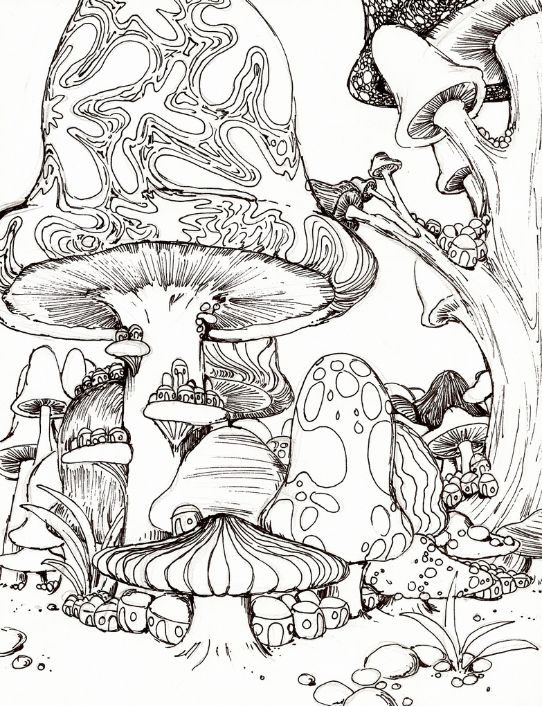 trippy mushroom coloring pages - photo#26
