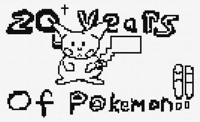 Twenty Years of Pokemon (Pixel Art, BW version) -1