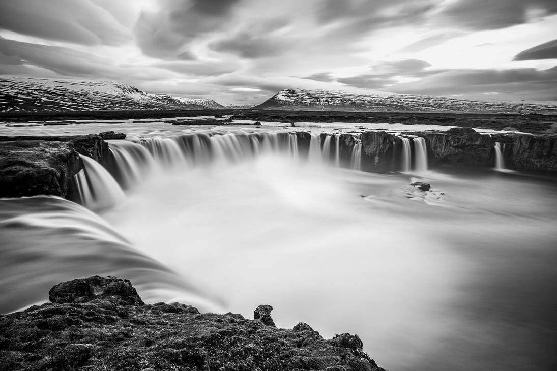 Black and white Godafoss by JohnyG