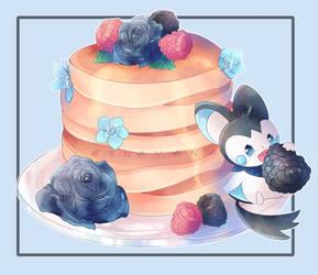(C) Just a blue Emolga and pancakes