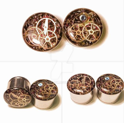 5/8 1 PAIR Single Flare Steampunk Tunnels Gauges