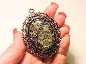 Antiqued Copper Filigree Steampunk Pendant