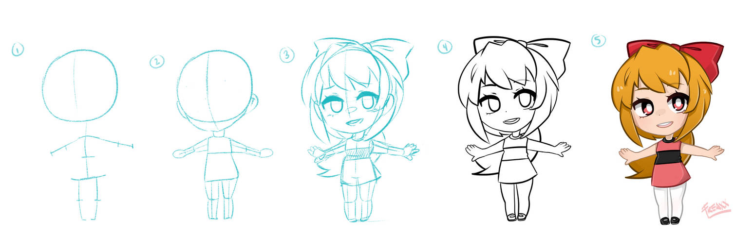Lazy chibi drawing process tutorial by justfream