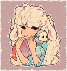 a little lady and her cotton-stuffed companion