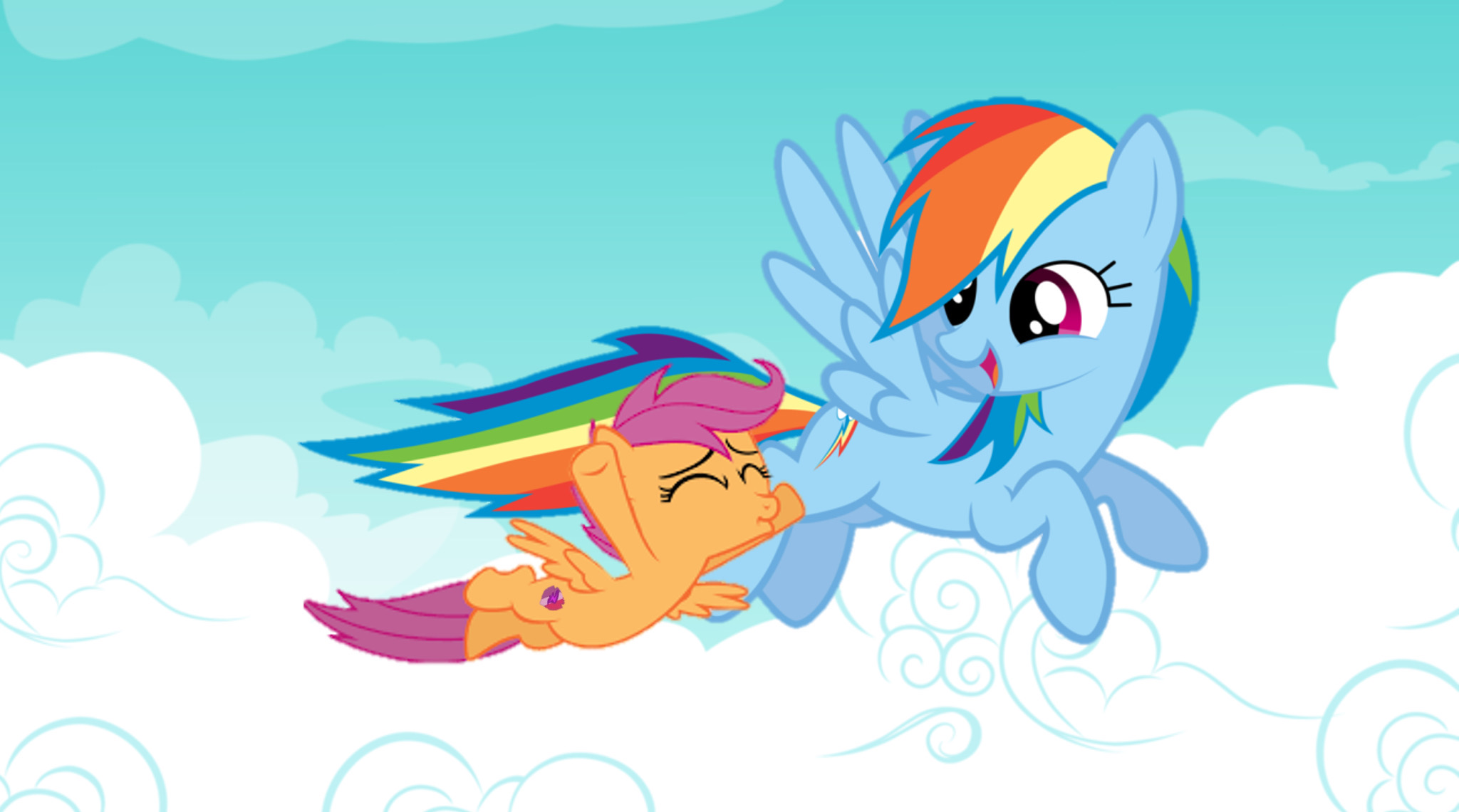 Rainbow Dash And Scootaloo Flying Together By Darkmoonanimation On Deviantart Scootaloo can't fly because she lacks the light bones of a pegasus, and has the heavy bones of an earth pony. rainbow dash and scootaloo flying
