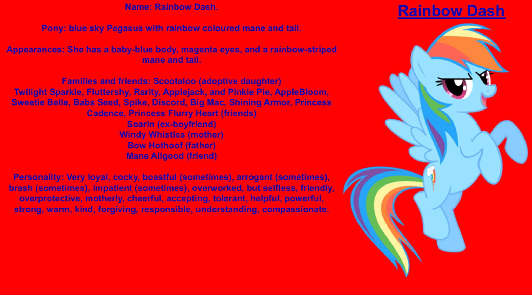 Rainbow Dash Wiki By Darkmoonanimation On Deviantart One of the favorite sections on our site is this collection of creative and often hilarious charts of each personality type. rainbow dash wiki by