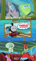 Mr. Krabs and Squidward deny 25 Thomas and Friends