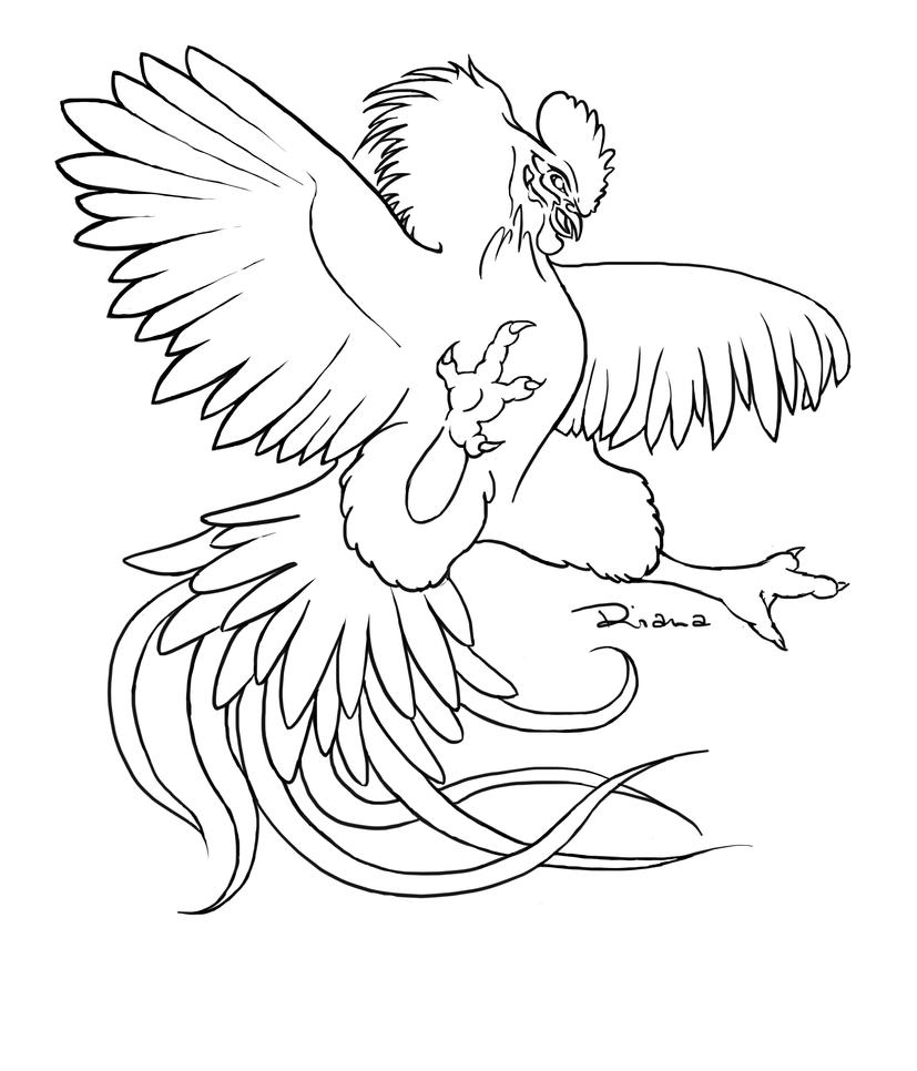 Line Drawing Rooster : Fighting rooster by rianaa on deviantart