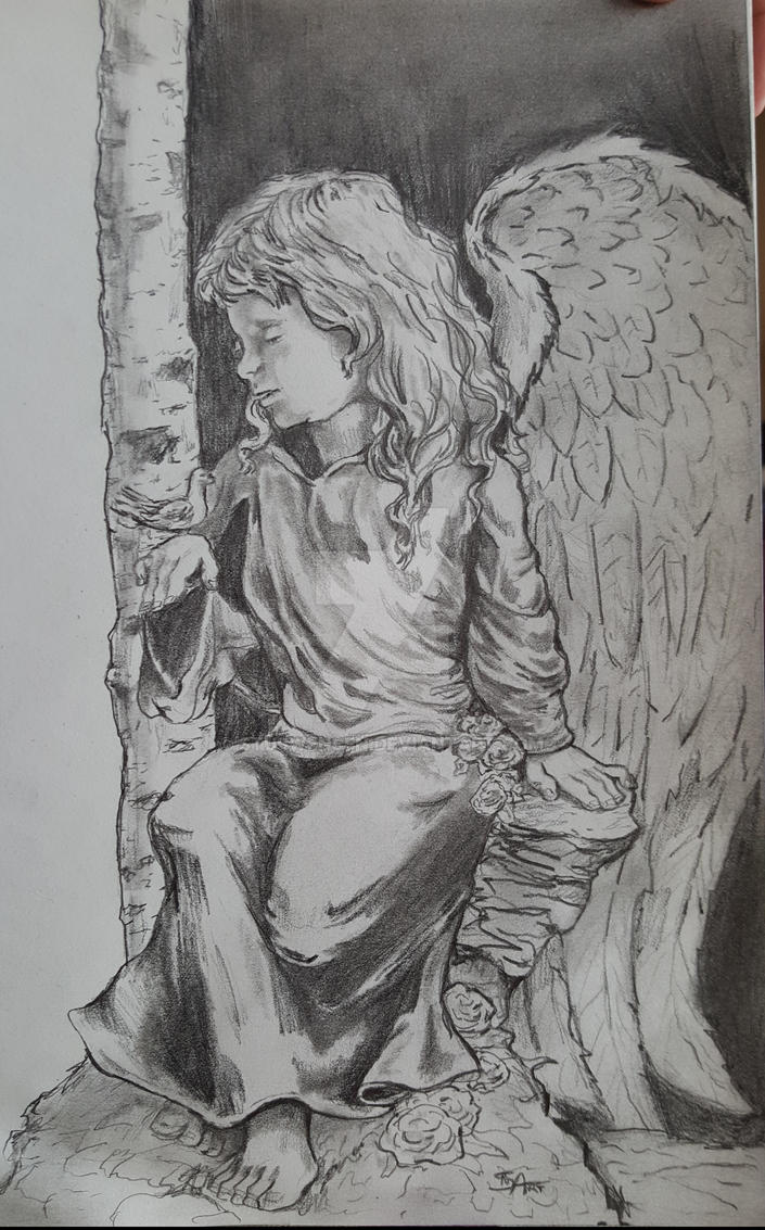 Guardian angel with her little friend pencils by stuswensen on