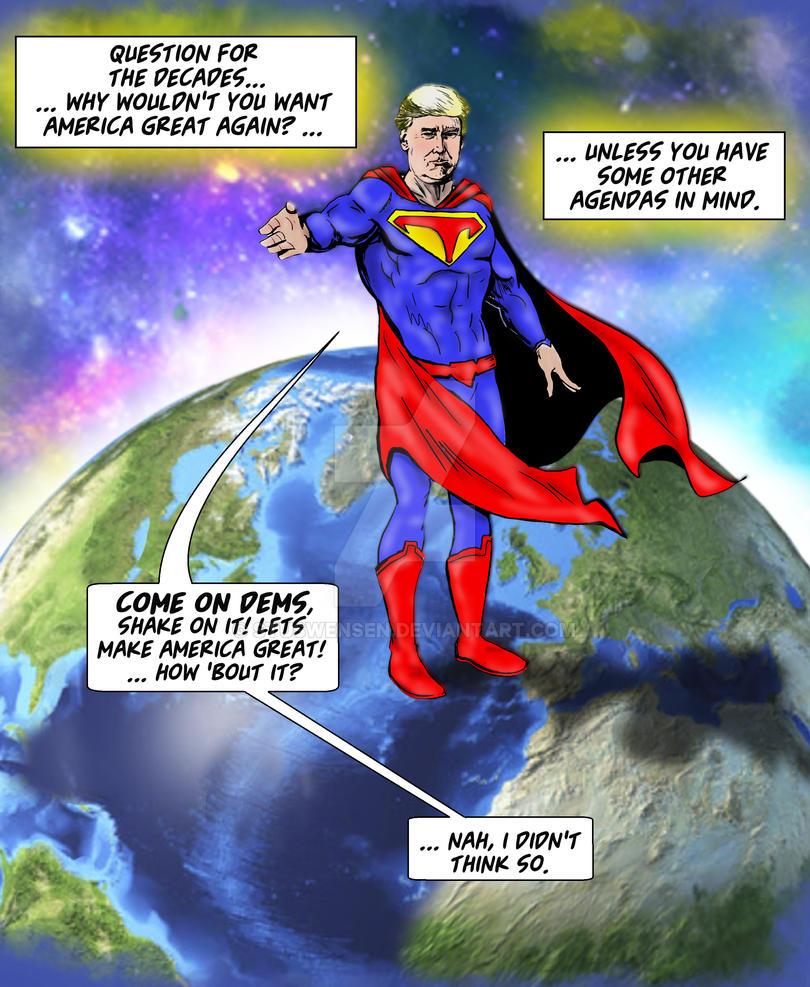 Supertrump cartoon make america great again by stuswensen for Make america great again wallpaper