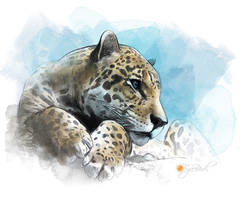 Digital watercolour - Leopard