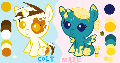 {DrawToAdopt} Colt and Mare Foals by RadiantClaire