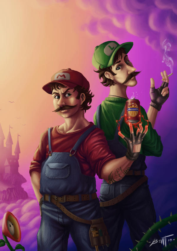 Mario and Luigi - amanita beer by feintbellt