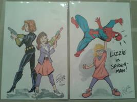 Black Widow, Spider-Man and friends by mzjoe
