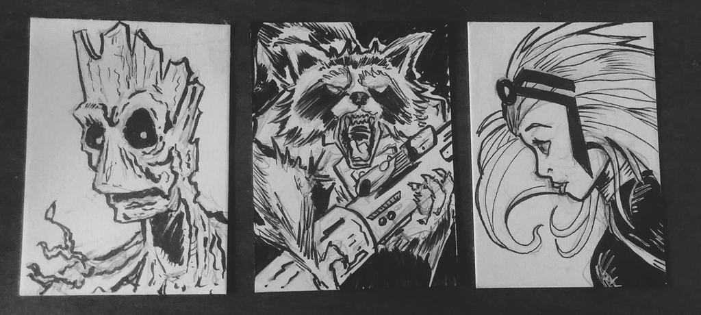 3 sketch cards uncolored by mzjoe
