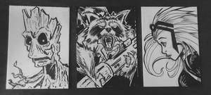 3 sketch cards uncolored