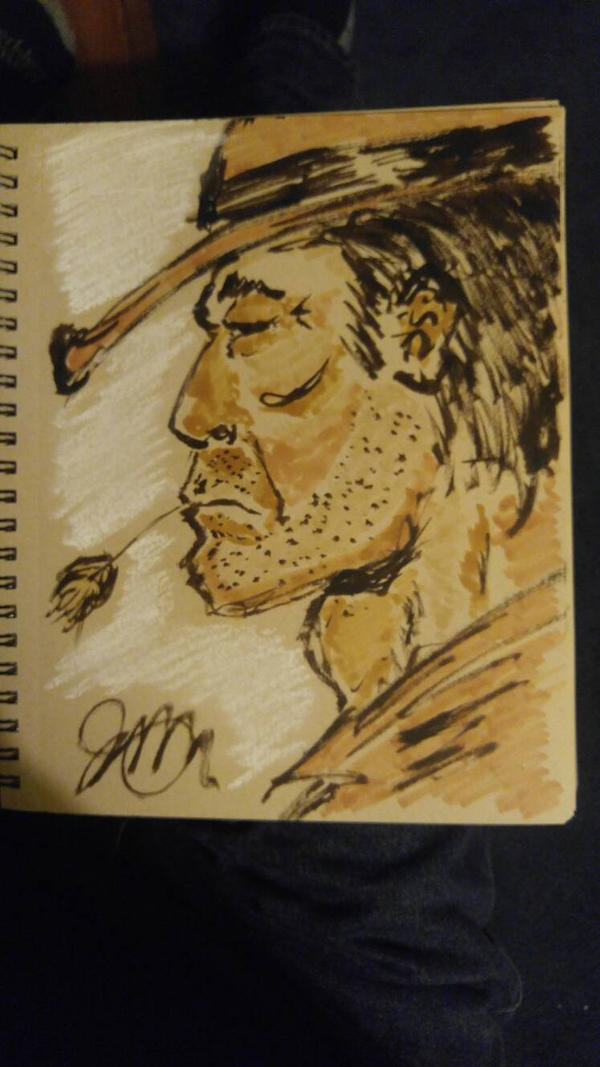 cowboy in sepia ink