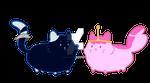 Peebles and Marcy chibi kitties