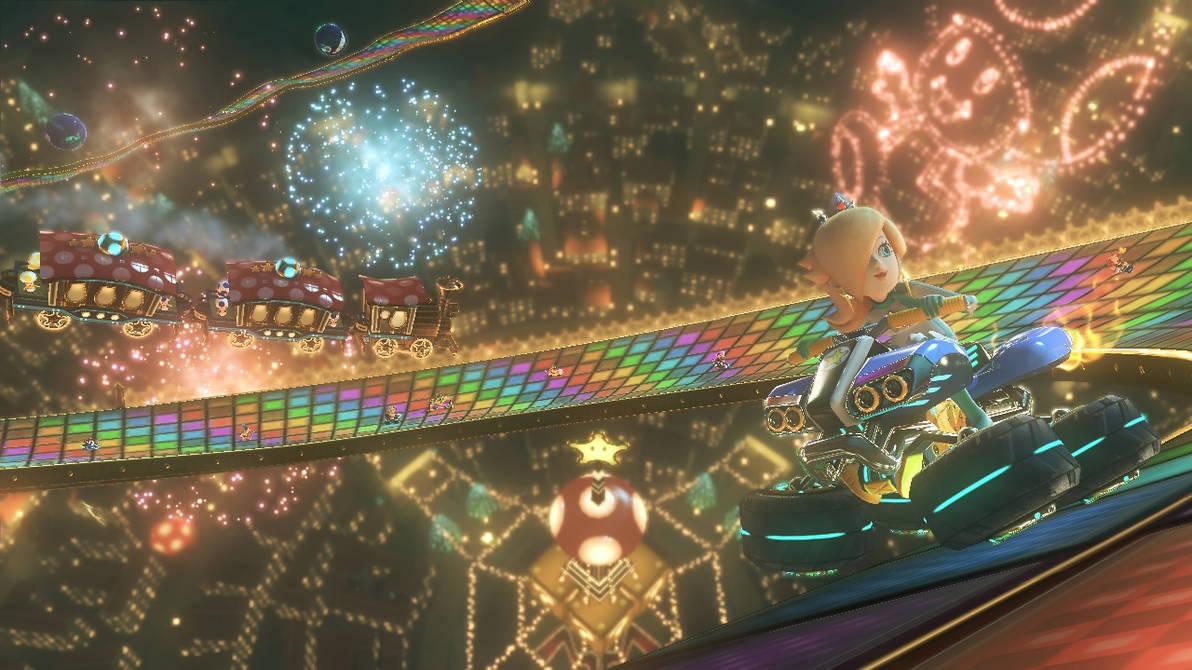 Rosalina On Rainbow Road Mario Kart 8 By Rosalina Luma On Deviantart