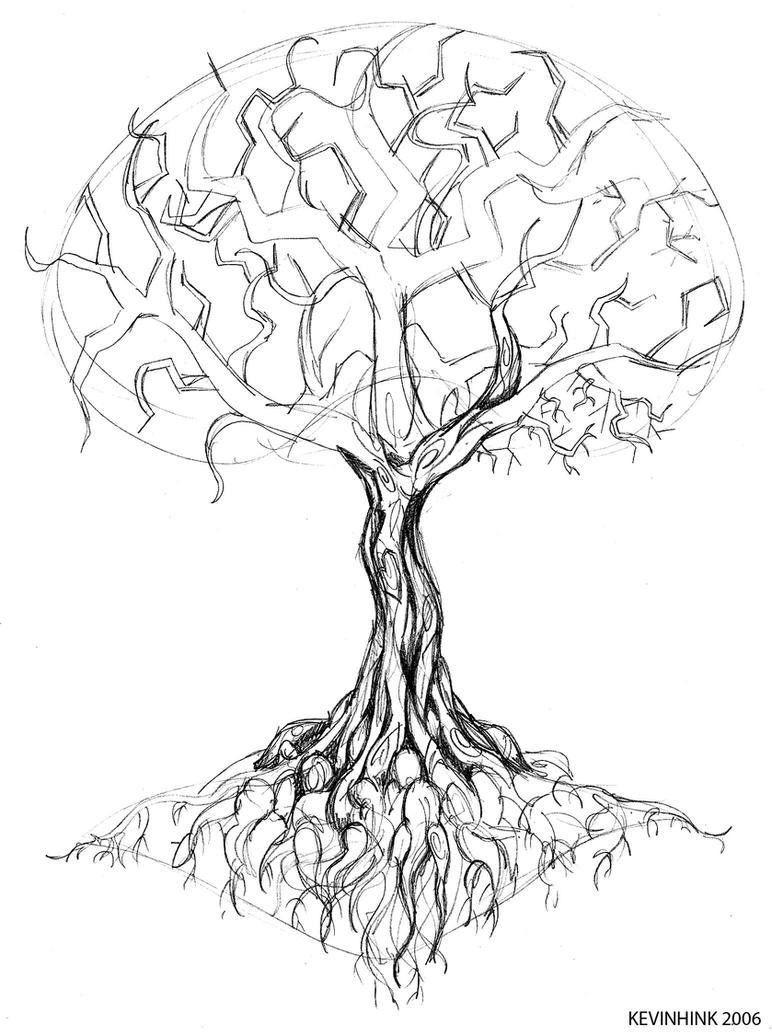 oak tree tattoo sketch by kevinhink on deviantart. Black Bedroom Furniture Sets. Home Design Ideas