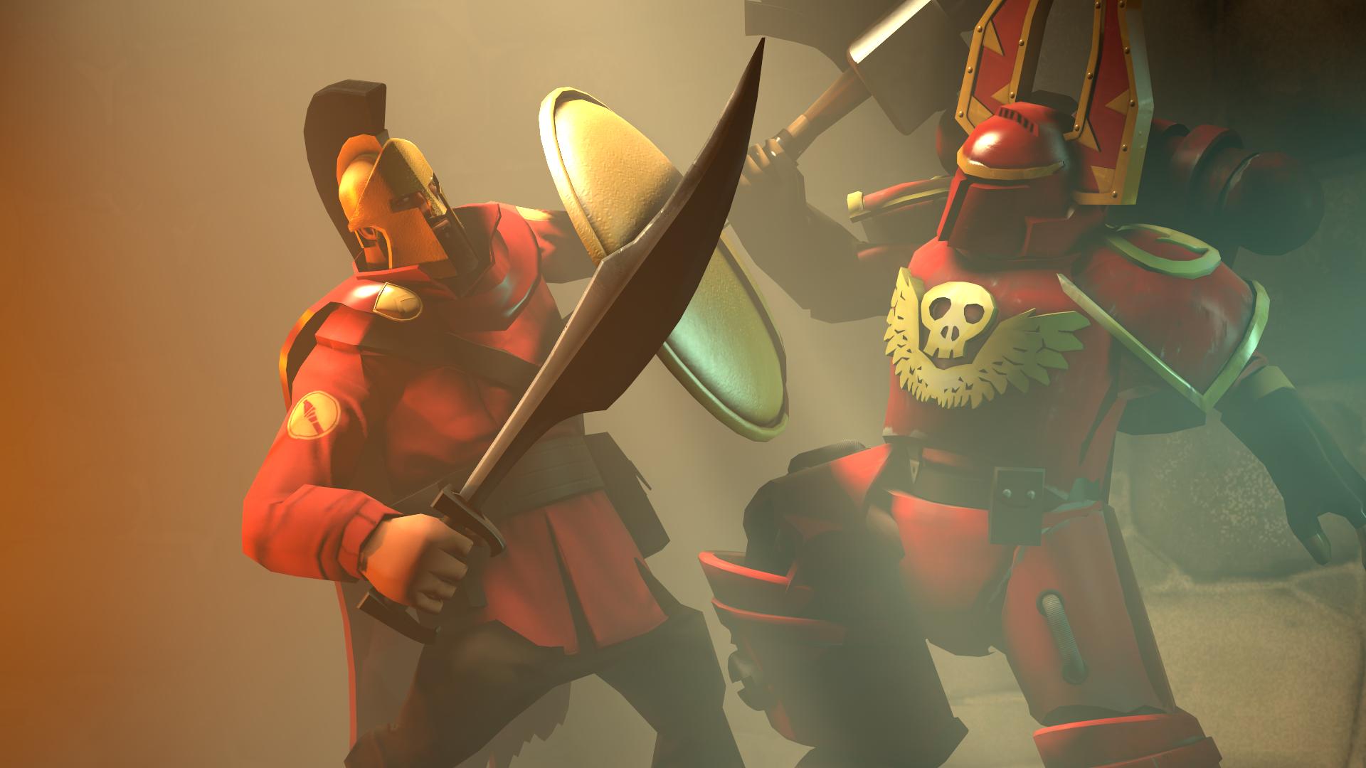 Spartan vs Khorne berserker by zOMG-a-DropBear on DeviantArt