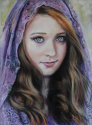 Purple Head dress Pastel