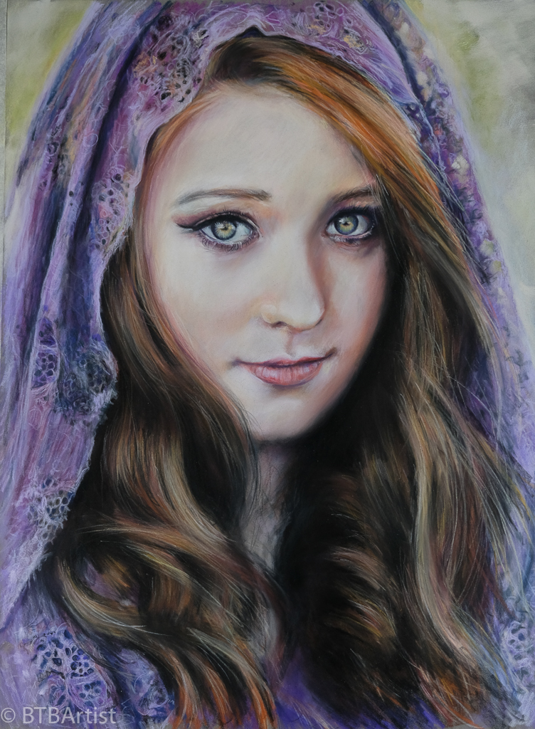Purple Head dress Pastel