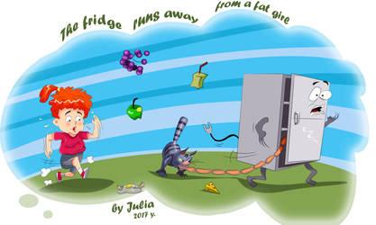 The fridge runs away from a fat girl by Krosh270