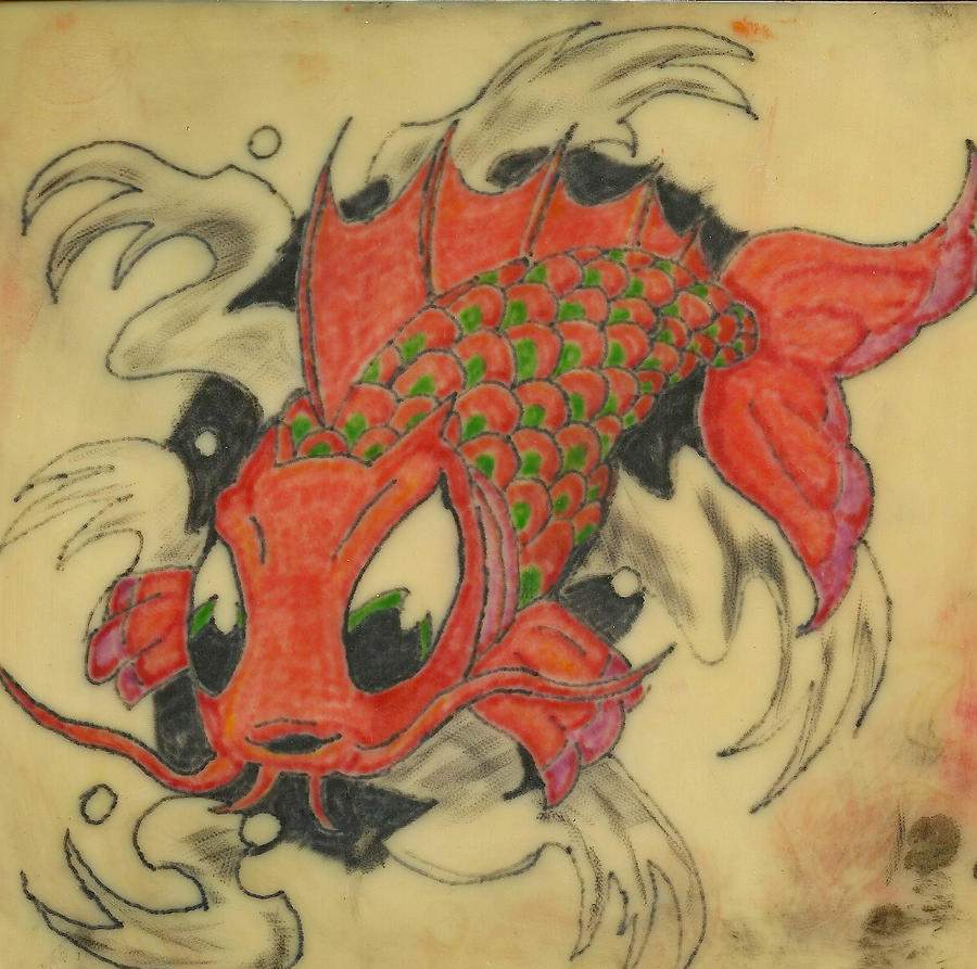 Koi tattoo on practice skin by protegeart on deviantart for Practice skin for tattooing