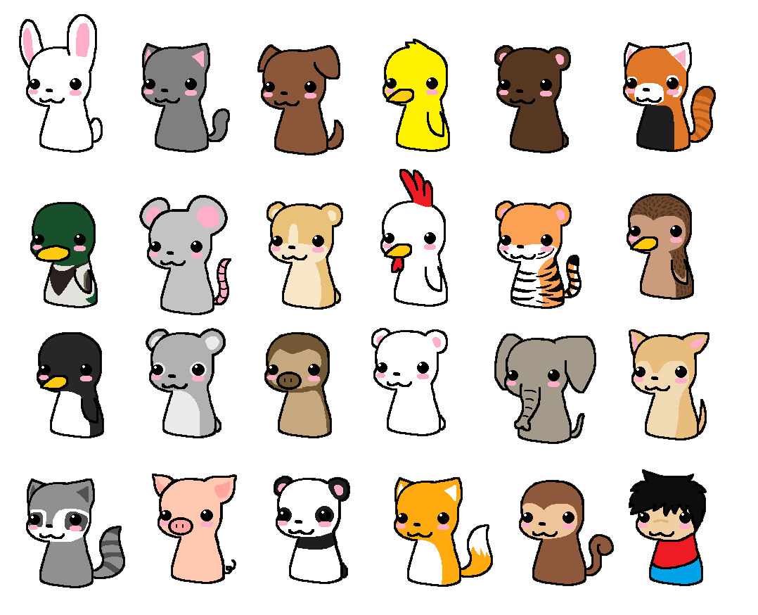 anime with animals as main characters: Chibi Animals By Pixel-kit On DeviantArt