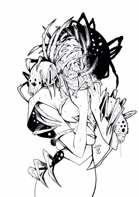 Inktober: Arachnophobia by lunaticenigma
