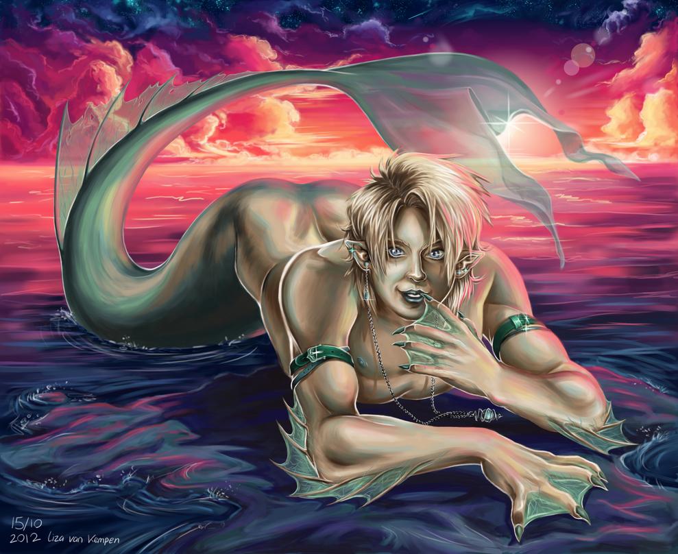 Merman on the Beach by VKliza