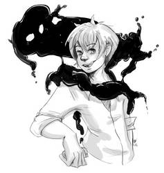 Maru and the smoke monster by ChibiKitsuneArtist
