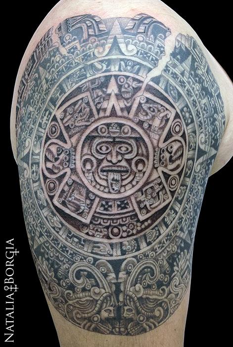 Aztec Calendar Tattoo by nataliaborgia
